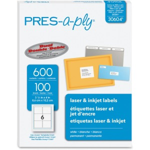 PRES-a-ply PRES-a-ply White Labels, 3-1/3