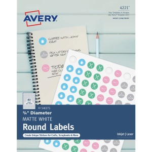 Avery® Matte White Print-to-Edge Round Labels