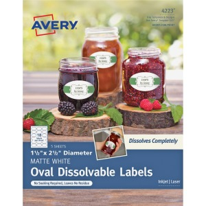 Avery® Oval Dissolvable Labels