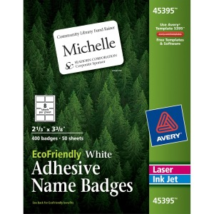 Avery® EcoFriendly Adhesive Name Badge Labels