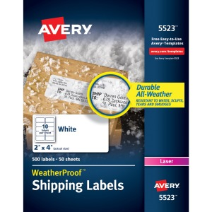 Avery&reg WeatherProof Mailing Labels with TrueBlock Technology