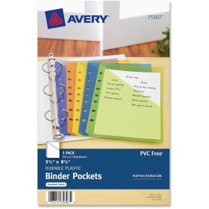 Avery® Durable Mini Binder Pockets - For 3-Ring and 7-Ring Binders