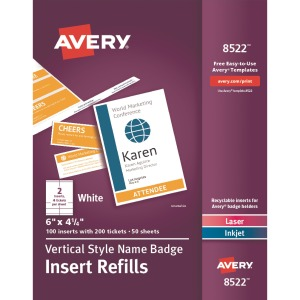Avery® Vertical Name Badge with Ticket Inserts