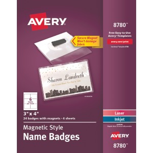 Avery® Secure Magnetic Name Badges with Durable Plastic Holders and Heavy-duty Magnets