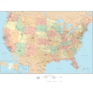 Advantus Laminated USA Wall Map