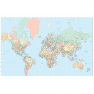 Advantus Laminated World Wall Map