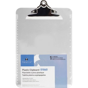 Business Source Spring Clip Plastic Clipboard