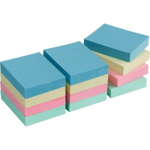 Business Source Premium Plain Pastel Adhesive Notes