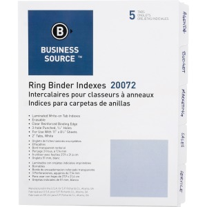 Business Source 3-Ring 5-Tab Erasable Tab Indexes