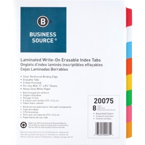 Business Source Laminated Write-On Tab Indexes