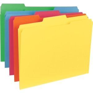 Business Source 1/3-Cut Tab Colored File Folders