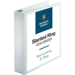 Business Source Basic D-Ring White View Binders