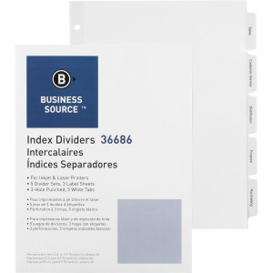 Business Source Punched Tabbed Laser Index Dividers