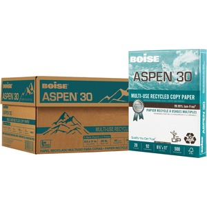 Boise Paper ASPEN 3-Hole Punched Inkjet, Laser Copy & Multipurpose Paper - 30% Recycled