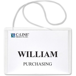 C-Line Hanging Style Name Badge Kit with White Elastic Cord