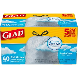 Glad OdorShield Tall Kitchen Drawstring Trash Bags