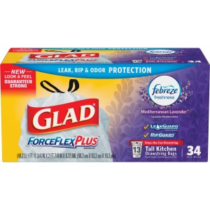 Glad ForceFlex OdorShield Tall Kitchen Drawstring Trash Bags