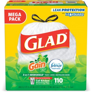 Glad 3-in-1 OdorShield 13G Trash Bags