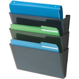 Deflecto Sustainable DocuPocket Letter Black-3 pocket 50% Recycled Content