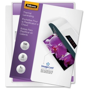 Fellowes Thermal Laminating Pouches - ImageLast™, Jam Free, Letter, 3mil, 150 pack
