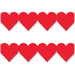 Hygloss Red Heart Globe Design Border Strips