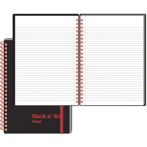 Black n' Red Wirebound Semi - rigid Cover Ruled Notebook - A5