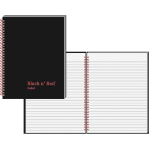Black n' Red Ruled/ Perf. Wirebound Notebook - Letter