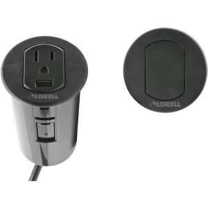 Lorell Grommet Mount 3-prong Power Socket