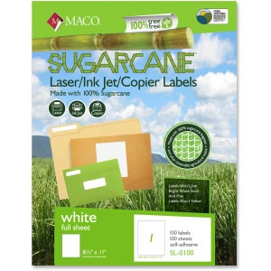 MACO Laser / Ink Jet / Copier Sugarcane Full Sheet Labels