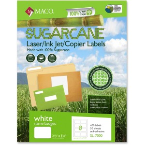 MACO Laser / Ink Jet File / Copier Sugarcane Name Badge Labels