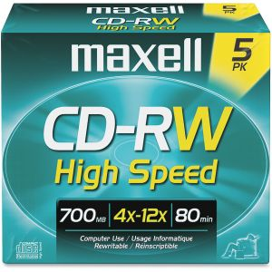 Maxell CD Rewritable Media - CD-RW - 4x - 700 MB - 5 Pack