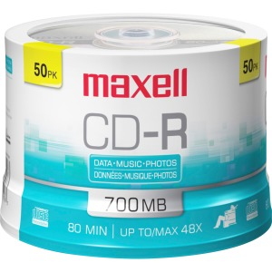 Maxell CD Recordable Media - CD-R - 48x - 700 MB - 50 Pack Spindle