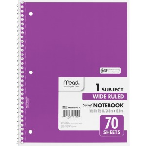Mead Spiral Bound Wide Ruled Notebooks