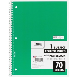 Mead One-subject Spiral Notebook
