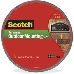 Scotch Exterior Weather-Resistant Double-Sided Tape with Red Liner