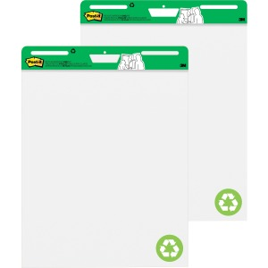 "Post-it® Easel Pad made with Recycled Paper, 25"" x 30"", White"