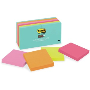 "Post-it® Super Sticky Notes, 3"" x 3"", Miami Collection"