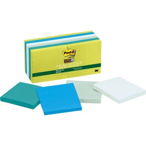 Post-it Super Sticky Recycled Notes, 3 in x 3 in, Bora Bora Color Collection