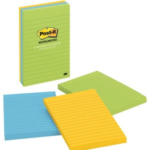Post-it Notes, 4 in x 6 in, Jaipur Color Collection, Lined