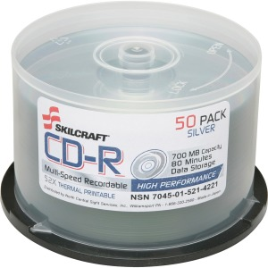 SKILCRAFT CD Recordable Media - CD-R - 52x - 700 MB - 1 Pack Spindle