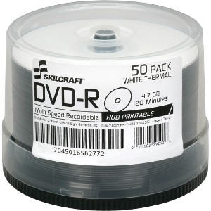 SKILCRAFT DVD Recordable Media - DVD-R - 16x - 4.70 GB - 50 Pack