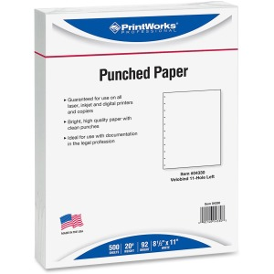 PrintWorks Professional 11-Hole Velobind Pre-Punched Paper for Presentations & Reports