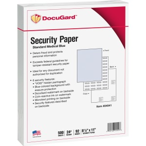 DocuGard Standard Security Paper for Printing Prescriptions & Preventing Fraud, 6 Features