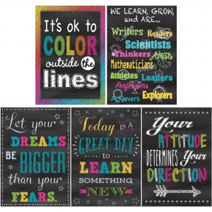 Teacher Created Resources Chalkboard Brights Poster Set