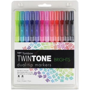Tombow TwinTone Brights Dual-tip Marker Set