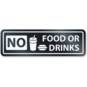 HeadLine No Food Or Drinks Window Sign