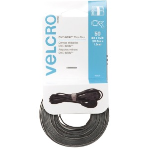 VELCRO Brand ONE-WRAP Thin Ties 8in x 1/2in Ties Gray & Black 50 ct