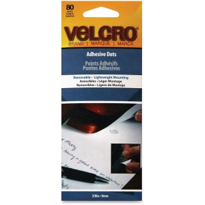 VELCRO Brand Adhesive Dots . Removable 3/8in Dots. Clear . 80 ct.