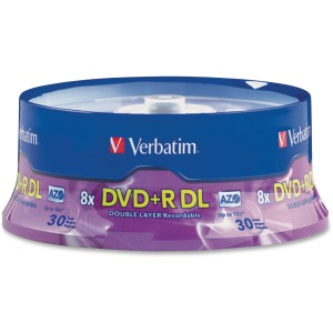 Verbatim DVD+R DL 8.5GB 8X with Branded Surface - 30pk Spindle