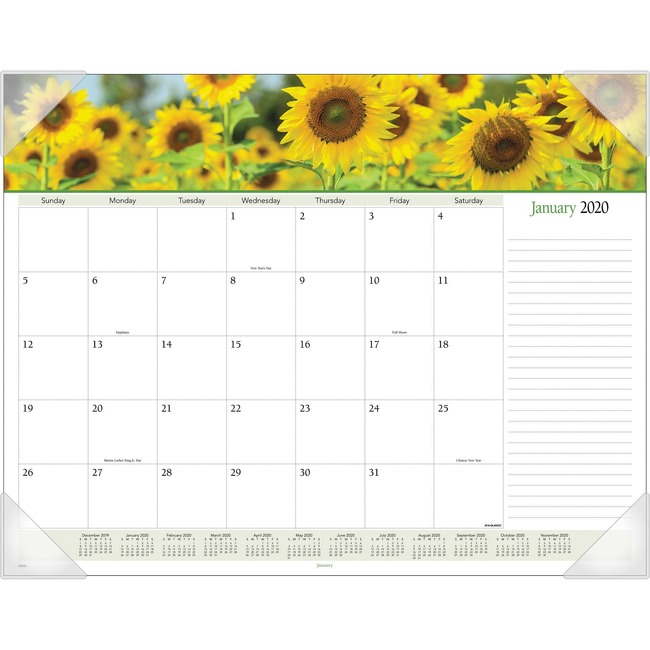 At-A-Glance Panoramic Floral Image Monthly Desk Pad